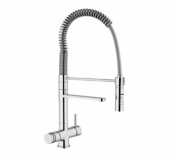 Wasserhahn 3in1 Luxury Spiralfeder mit Brause (Chrom)