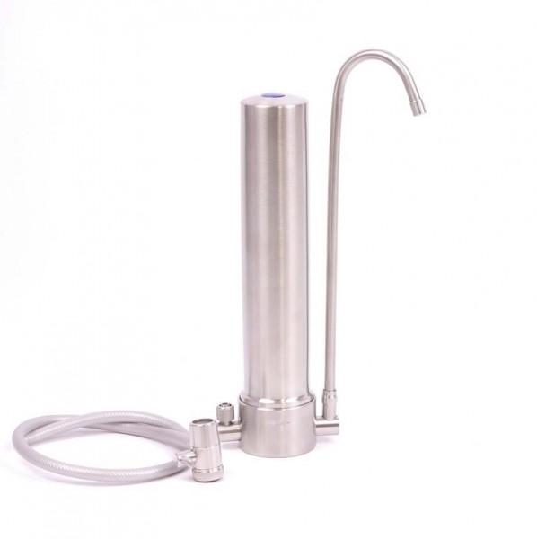 AquaAvanti Uno Auftischfilter   Edelstahl   mit Carbonit Filter