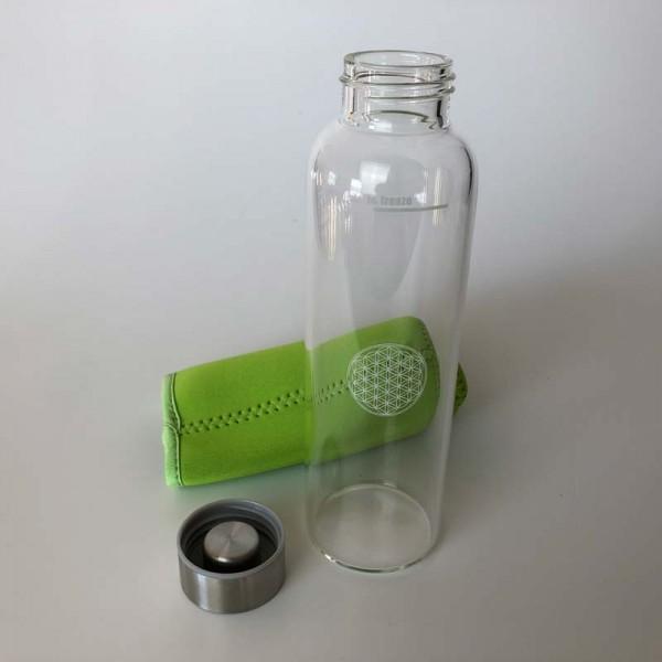 "Saftflasche ""Sina"" aus Borosilikatglas mit Blume des Lebens (Hitze & Kältefest)"