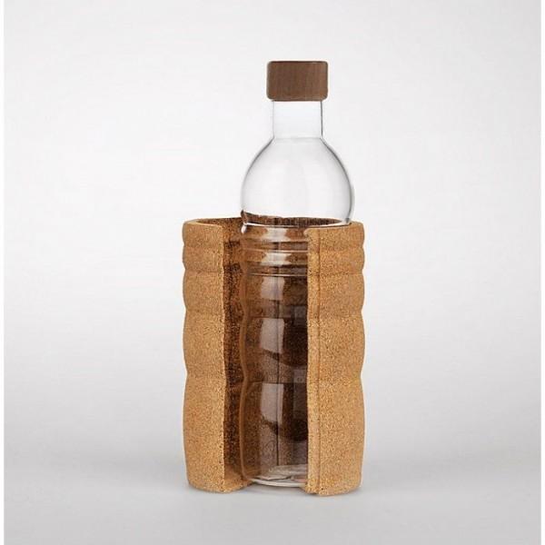 Nature´s Design Glas-Trinkflasche Lagoena mit weisser Lebensblume