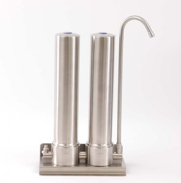 Auftischfilter AquaAvanti Twin Edelstahl | mit Carbonit Filter